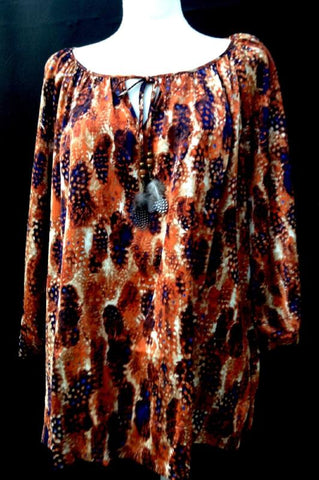 "ANIMAL PRINT RHINESTONE TUNIC MULTI size "" M ""- SALE"