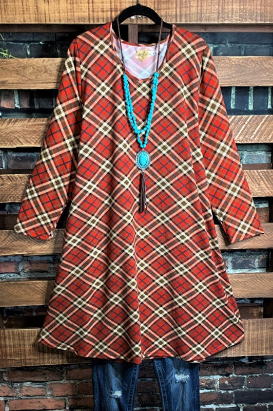 WALK THE LINE PLAID SWEATER DRESS LONG SLEEVE IN RED---------------sale