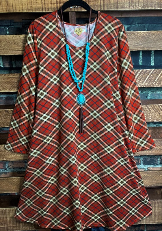 WALK THE LINE PLAID SWEATER DRESS LONG SLEEVE IN RED