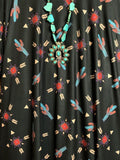 CACTUS & ARROW FLYING HIGH PRINT DRESS IN BLACK & MULTI-COLOR