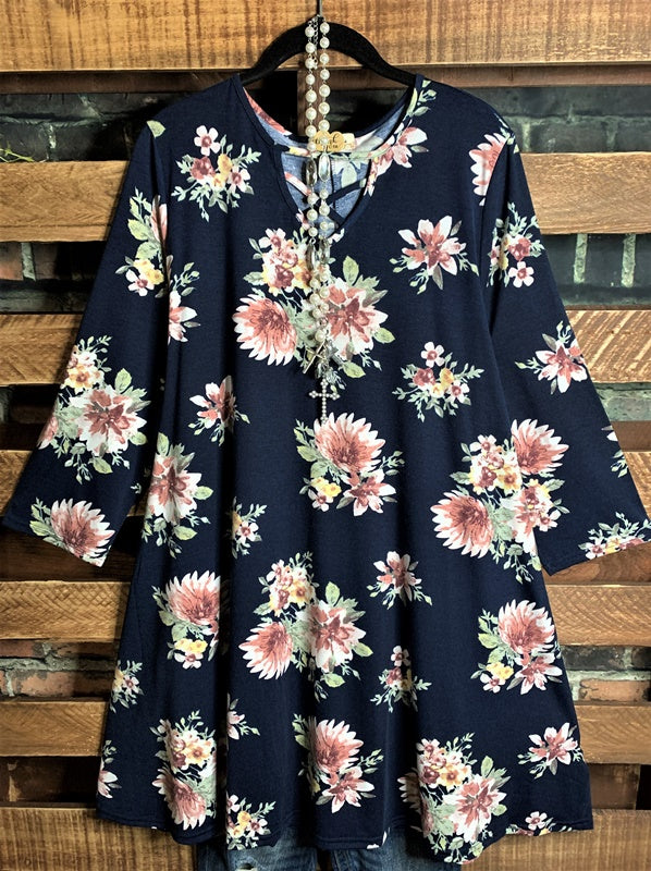 LEARN TO LOVE YOURSELF FIRST FLORAL DRESS IN NAVY BLUE MIX------------SALE