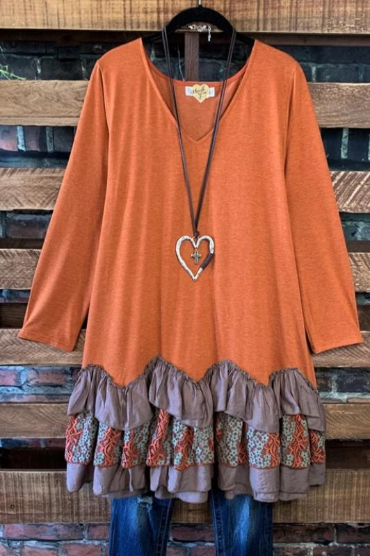 PURE ROMANCE RUST LACE DRESS