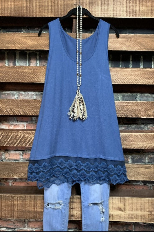 SWEETER THAN HONEY LACE SLIP DRESS EXTENDER TOP IN INDIGO BLUE