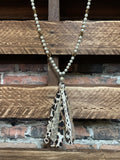 FANCY & FASHION PEARL LEOPARD TASSEL SET NECKLACE