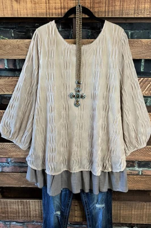 ENCHANTED WITH YOUR LOVE PRETTY TUNIC BLOUSE IN TAUPE-------SALE