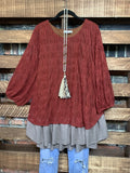 ENCHANTED WITH YOUR LOVE PRETTY TOP IN BURGUNDY------------sale