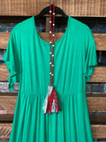 ALWAYS A GOOD DAY DRESS PLUS SIZE IN KELLY GREEN