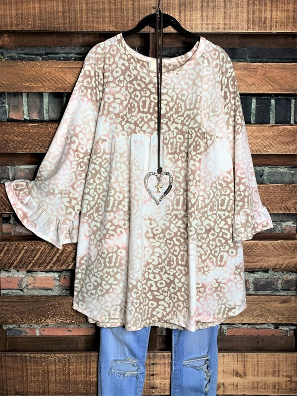 Delight My Heart Cream & Taupe Animal Print Top