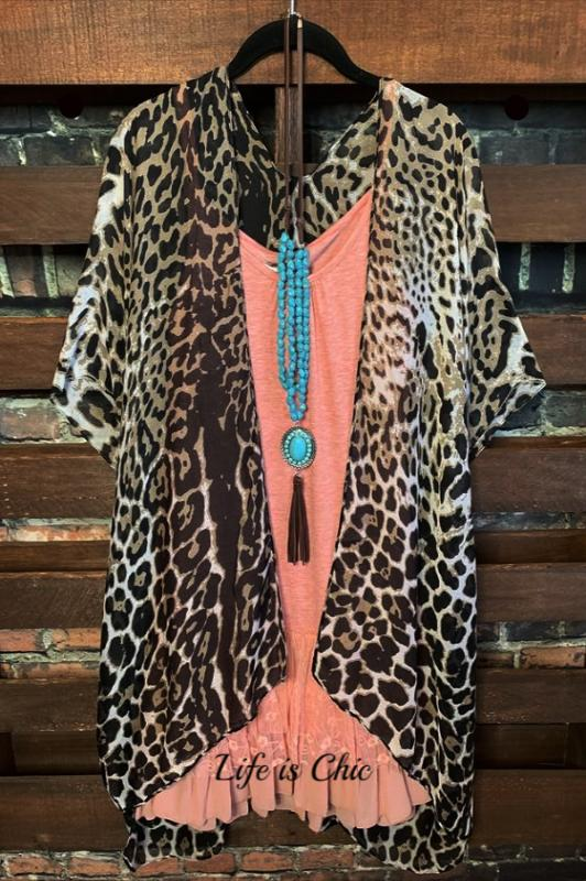 FAB & CHARMING AS EVER LEOPARD PRINT DUSTER KIMONO BROWN MIX