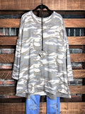 Live In Harmony Camo Sweatshirt  Oversized Tunic In Multi-Color