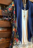 LES FLEURS JOUR EMBROIDERED DUSTER KIMONO IN NAVY BLUE