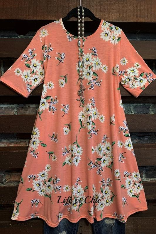 MY ONLY WISH FLORAL DRESS IN PEACH MIX
