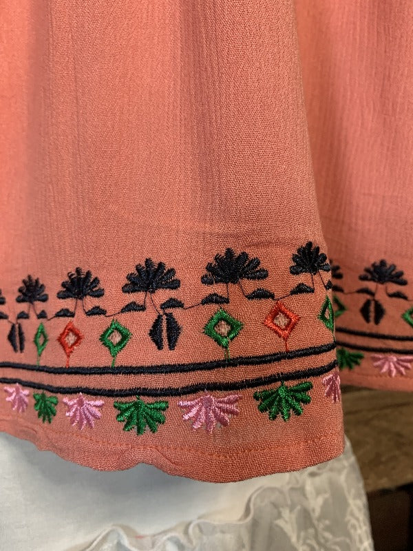PRETTY EASY LIVING BOHO EMBROIDERED JACKET KIMONO IN CORAL_PLUS SIZE
