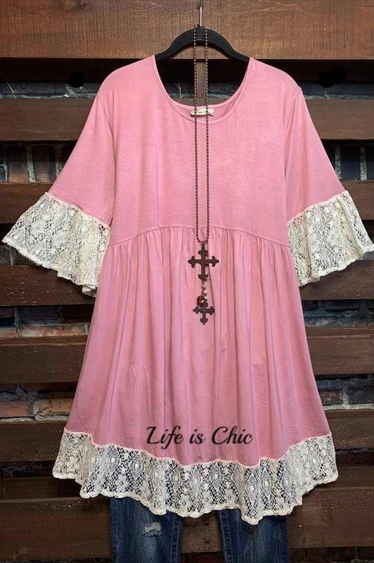 LIVING DREAMS PINK LACE DRESS