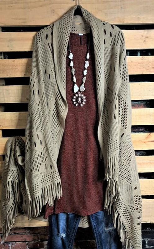 COZY CHARM TO GO IN STYLE FRINGE KNIT CARDIGAN VEST - TAUPE
