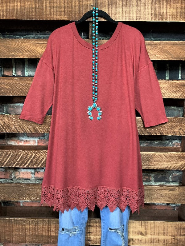WHEREVER YOU GO LACE PRETTY T-SHIRT TUNIC IN MARSALA