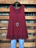 SWEETER THAN HONEY LACE SLIP DRESS EXTENDER IN WINE