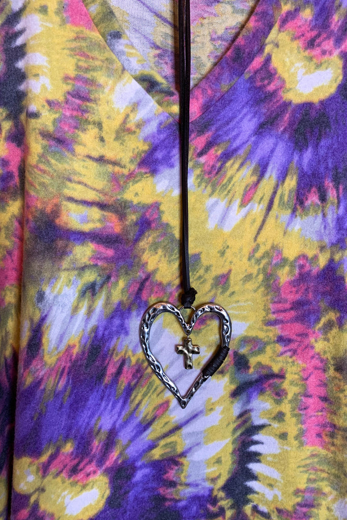 All The Love You Need Rainbow Tie Dye Hacci Top in Multi-Color