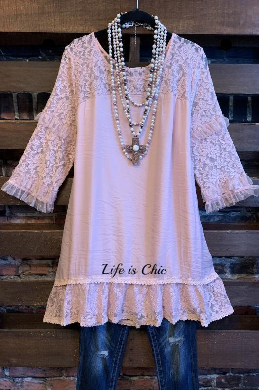 A LITTLE ENCHANTMENT LACE TUNIC IN VINTAGE PINK