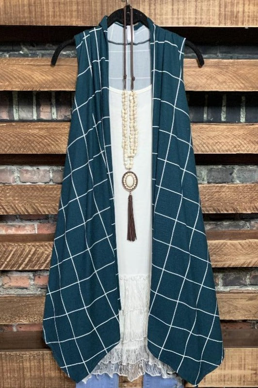 A PERFECT WISH PLAID SOFT KNIT VEST IN TEAL-------SALE