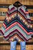 A MARVELOUS HOPE PRETTY PRINT TUNIC IN MULTI COLOR 1X 2X 3X 4X 5X