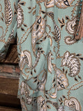 FAB PAISLEY PRINT TUNIC WITH PATCHED POCKETS IN MINT MIX