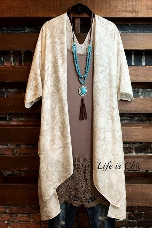 NATURAL BEAUTY LIGHTWEIGHT KIMONO BEIGE TAUPE