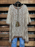 INSPIRED BY BEAUTY LACE TUNIC IN TAUPE & BROWN------------SALE