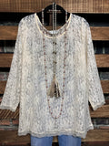 ADORABLY YOURS LACE LAYERING TOP IN BEIGE