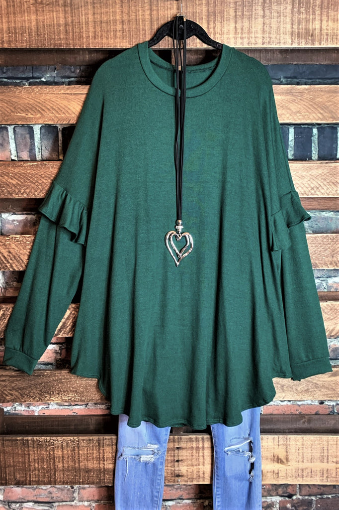 A LOVELY THOUGHT RUFFLE SLEEVE OVERSIZED TOP IN DARK GREEN-------SALE