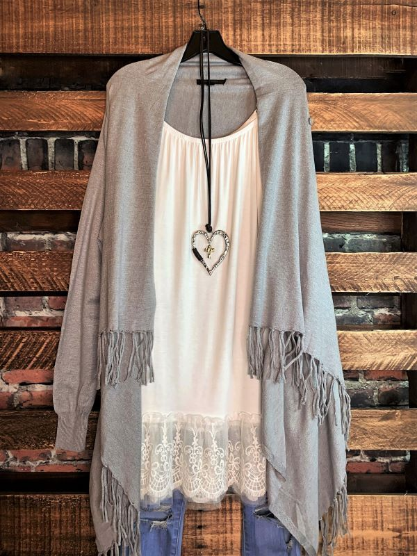 Let's Go To The City Fringe Cardigan in Gray