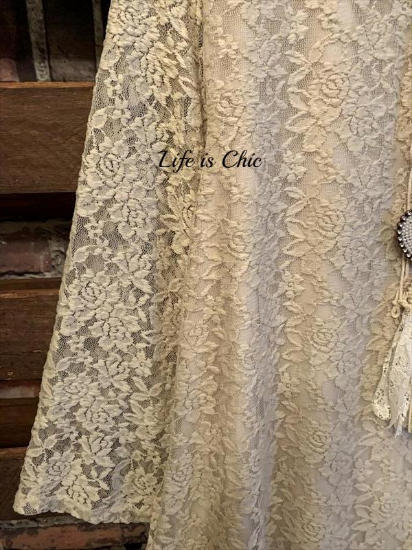 TAKE ME TO DANCE TONIGHT LACE TAUPE DRESS