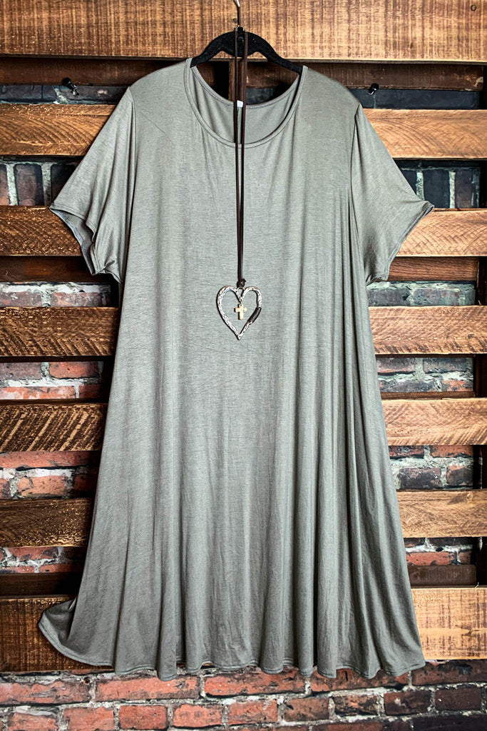 JUST THE SIMPLE THINGS DRESS WITH POCKETS IN OLIVE 3X 4X 5X-----------SALE