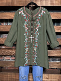 YOU FOUND MY HEART PRETTY EMBROIDERED TUNIC IN OLIVE PLUS SIZE---------sale