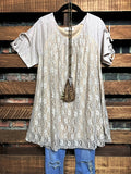 ROMANCE IN THE CITY LACE TUNIC IN DUSTY TAUPE---------------SALE