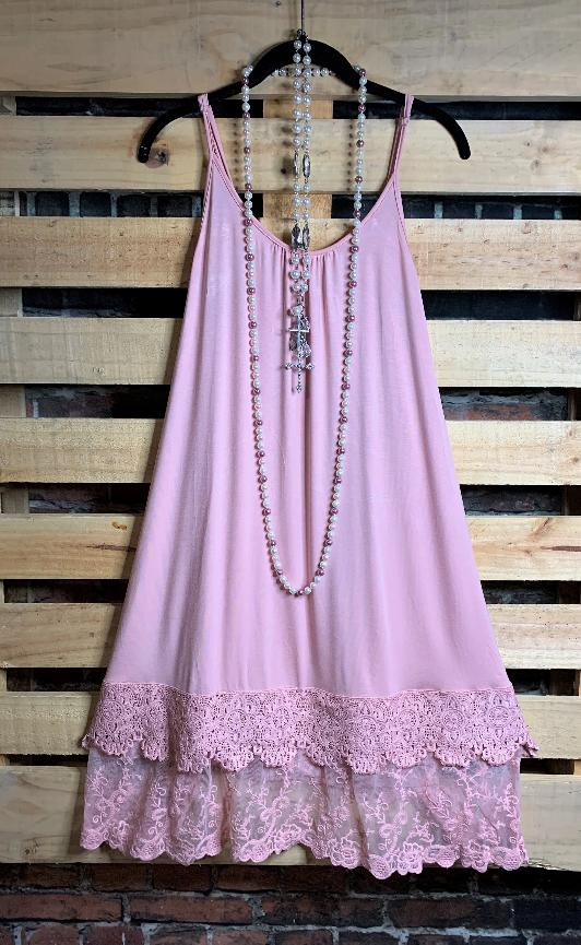 MY DELICATE SOUL LACE LAYERING SLIP DRESS EXTENDER TOP IN ROSE MAUVE