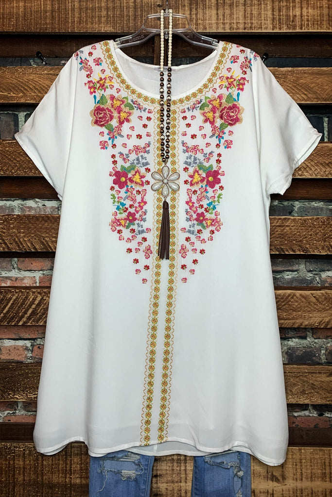 Sweetest Thing in The World Floral Embroidered Tunic in Ivory