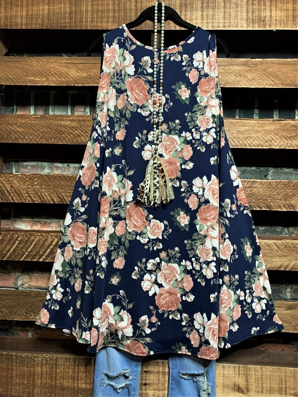 ALL FOR THE BEST FLORAL DRESS IN NAVY BLUE