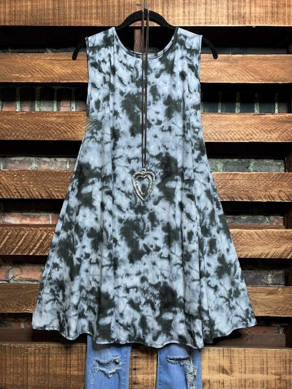 YOU LOVED ME FIRST TIE DYE SLEEVELESS DRESS IN CHARCOAL