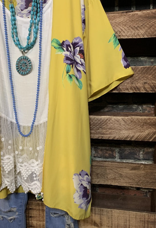 BEST IS YET TO COME FLOWER KIMONO IN YELLOW-------------sale