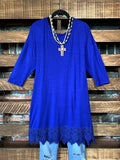 WHEREVER YOU GO LACE PRETTY T-SHIRT TUNIC IN ROYAL BLUE