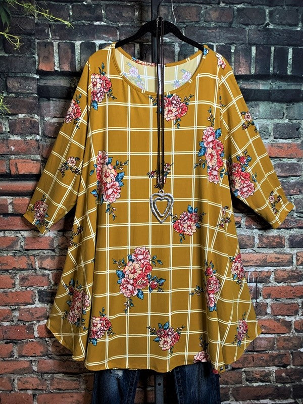 A NEW KIND OF PLAID TUNIC FLORAL IN MUSTARD---------sale