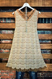 WHERE DREAMS ARE MADE LACE LAYERING DRESS IN BROWN & CREAM----------sale