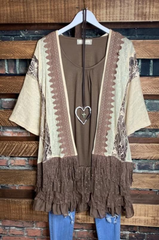 EVER SO SWEET EMBROIDERED LACE FRINGE KIMONO IN BEIGE AND BROWN----sale