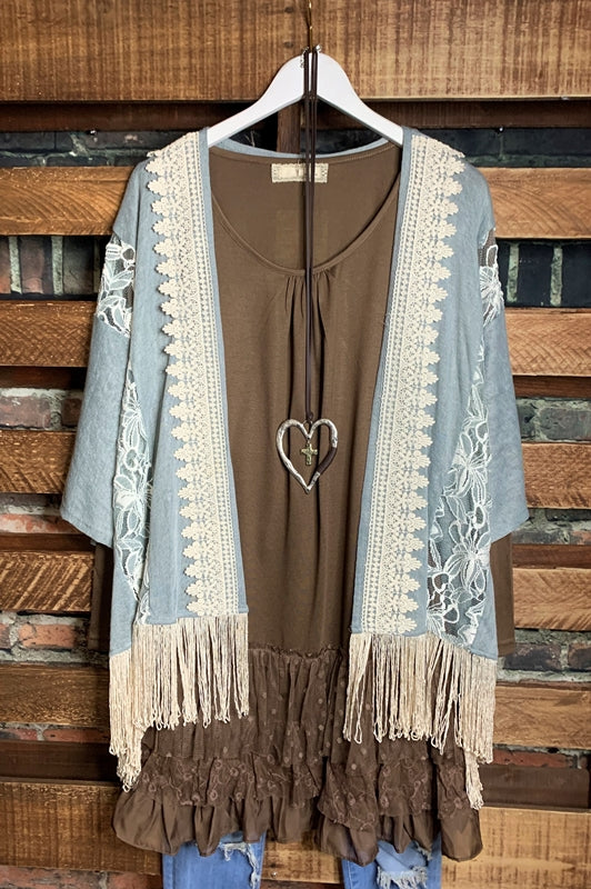 EVER SO SWEET EMBROIDERED LACE FRINGE KIMONO IN BLUE-------sale