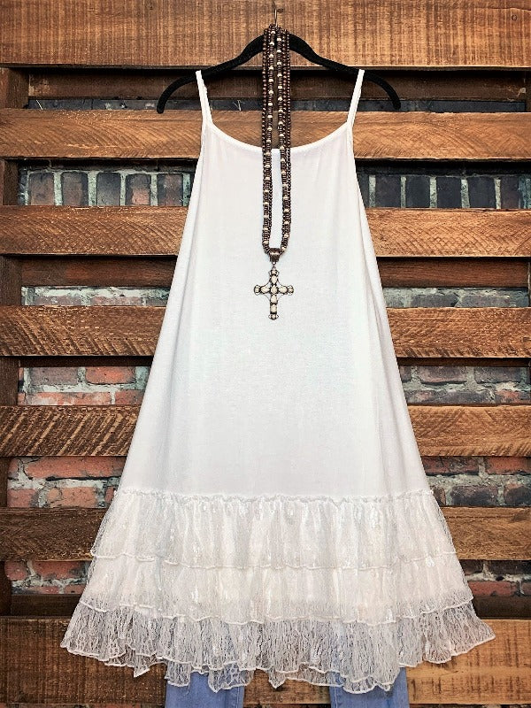 LOVE OF MY LIFE LACE SLIP CAMISOLE DRESS IN OFF-WHITE