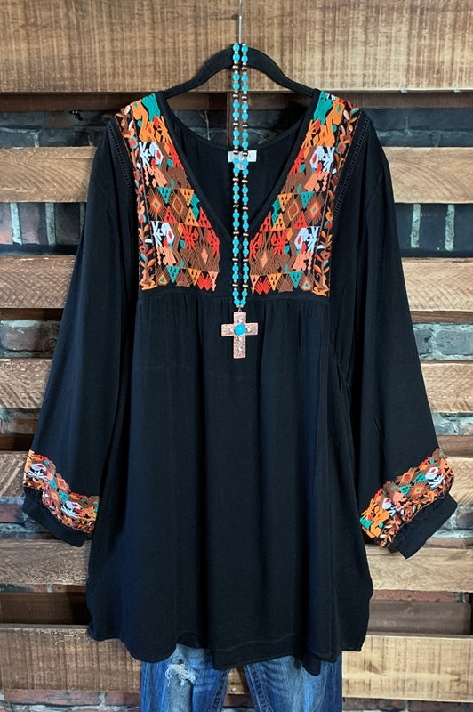 ENCHANTING MOMENTS FLORAL EMBROIDERED DRESS IN BLACK MIX
