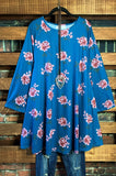 PRETTY LIKE A LOVE STORY FLORAL DRESS IN BLUE----------sale