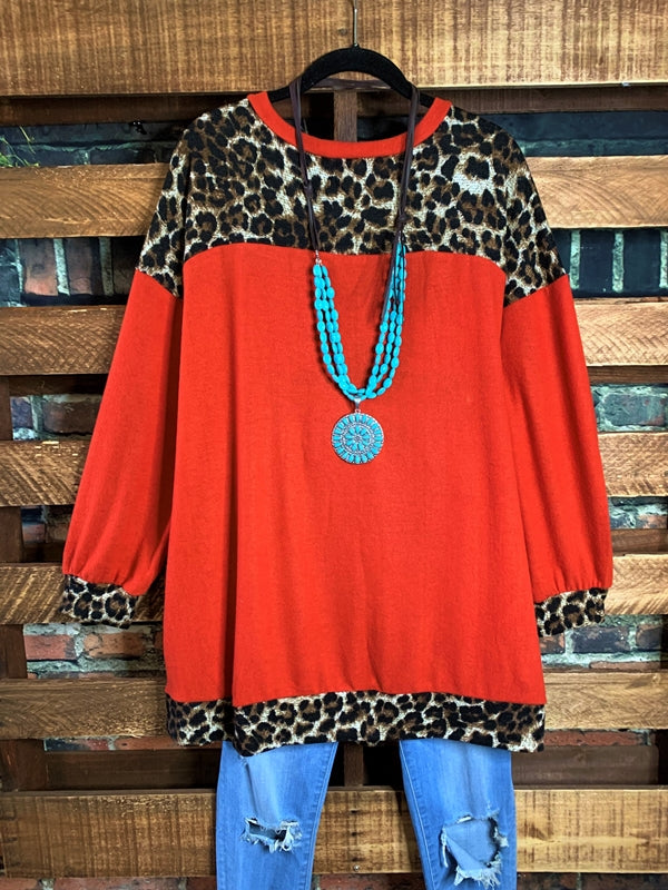 KEEP IT COZY LEOPARD HACCI BRUSH SWEATER TUNIC IN RUST & ANIMAL PRINT