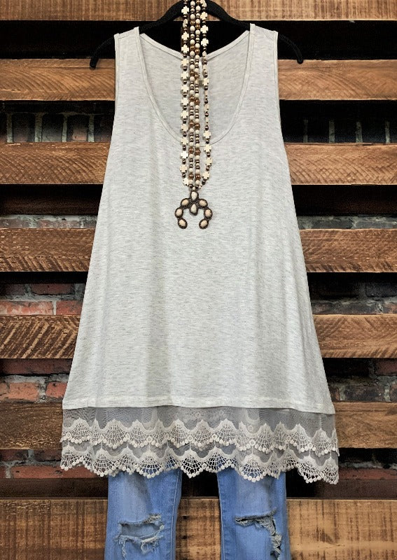 SWEETER THAN HONEY LACE SLIP DRESS EXTENDER IN OAT